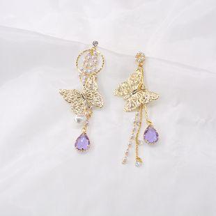 Korean  925 silver  animal earring women nihaojewelry wholesale new butterfly metal wings pink purple acrylic  water droplets tassel earrings  NHNT215350's discount tags