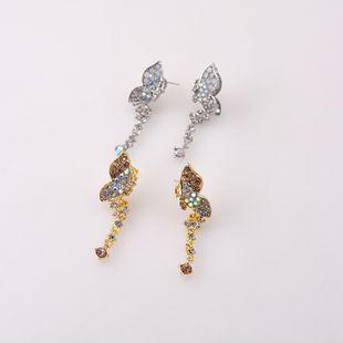 S925 silver butterfly earrings nihaojewelry smart flying rhinestone butterfly tassel earrings Korean diamond earrings wholesale NHNT215354's discount tags