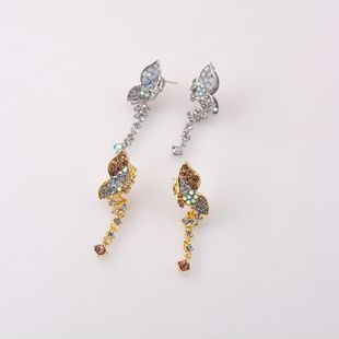 S925 pendientes de mariposa de plata nihaojewelry smart flying rhinestone pendientes de borla de mariposa Pendientes de diamantes coreanos al por mayor NHNT215354's discount tags