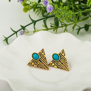 hot sale retro pattern triangle earrings inlaid turquoise small aircraft earrings nihaojewelry wholesale NHMO215176's discount tags