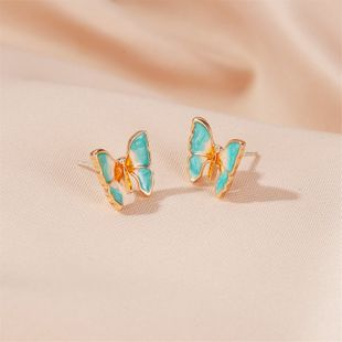 Korean  new super fairy oil painting texture butterfly earrings ancient style gradient butterfly wings earrings nihaojewelry wholesale NHDP215308's discount tags