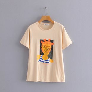 summer fashion  women's clothing fun contrast color abstract figure printing round neck T-shirt short sleeve nihaojewelry wholesale NHAM215536's discount tags
