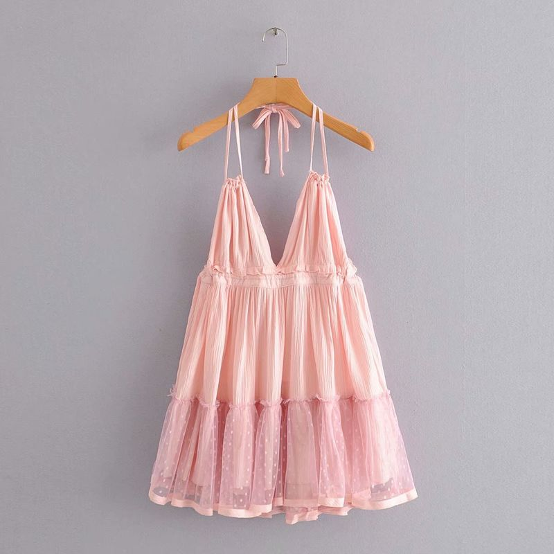 summer fashion new  hanging neck halter mesh splicing sexy suspender princess skirt  nihaojewelry wholesale NHAM215594