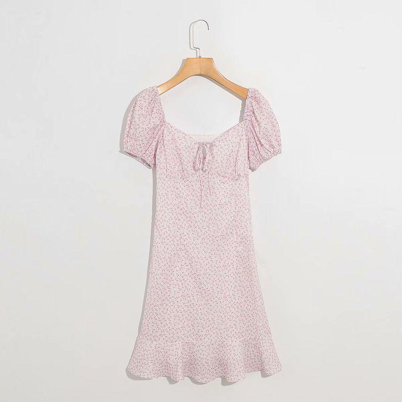 summer  fashion  new slim retro square collar chest lace floral waist short sleeve dress nihaojewelry wholesale NHAM215636