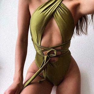 Modelos de venta caliente traje de baño de una pieza correa para mujer bikini verde oscuro integrado nihaojewelry al por mayor NHDA215661's discount tags