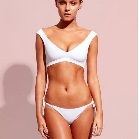 mode femmes en nylon sexy blanc bikini solide couleur split maillot de bain Bikini en gros nihaojewelry NHHL215676's discount tags