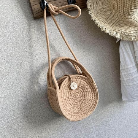 Hand-woven bag summer new women's bag wholesale shoulder messenger bag portable small bag holiday straw bag NHGA215691's discount tags