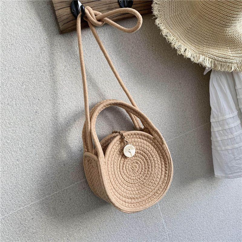 Hand-woven bag summer new women's bag wholesale shoulder messenger bag portable small bag holiday straw bag NHGA215691