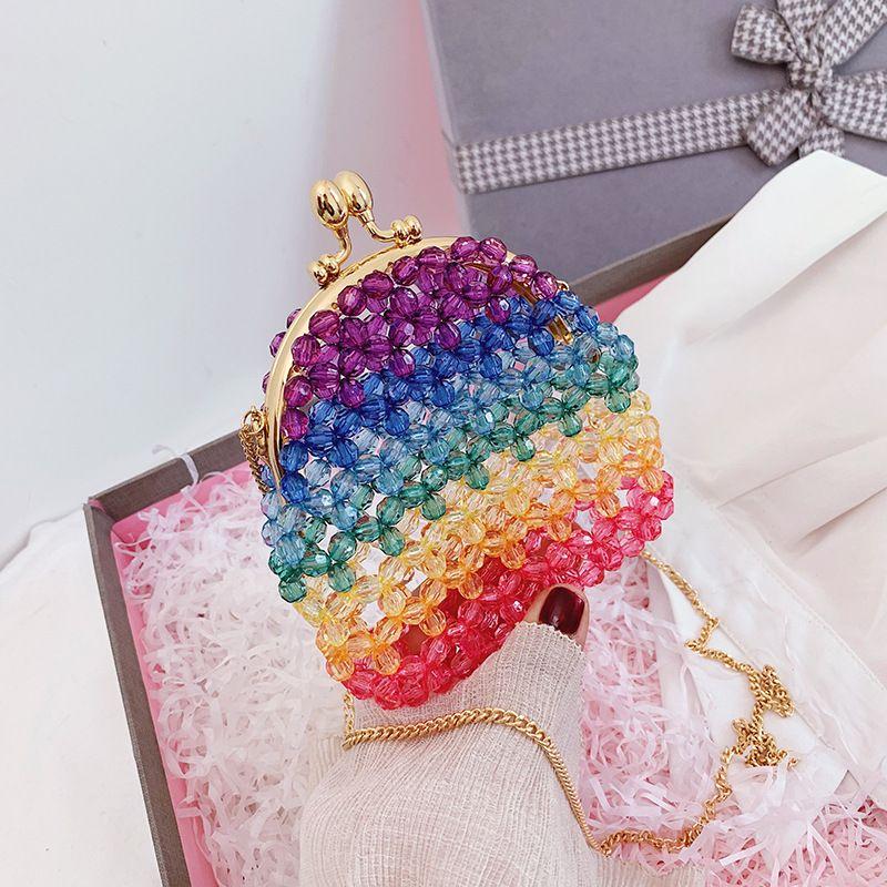 Summer new beaded bag nihaojewelry wholesale retro rainbow bag women's crossbody woven bag cute small square bag mini bag NHGA215718