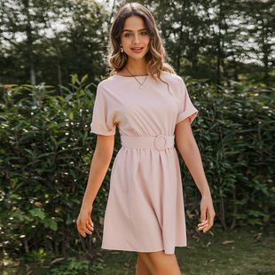 summer simple light pink ladies short dress nihaojewelry wholesale NHDE215817's discount tags
