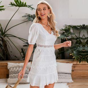 Vestido sexy de las mujeres de la moda al por mayor verano dulce blanco floral gasa vestidos nihaojewelry NHDE215843's discount tags