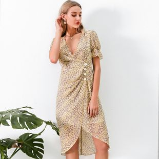 Wholesale fashion women's sexy dress summer sweet V-neck soft strawstring chic chiffon dresses nihaojewelry NHDE215844's discount tags