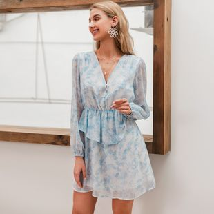 Wholesale fashion women's sexy dress summer sweet light blue chiffon dresses nihaojewelry NHDE215856's discount tags
