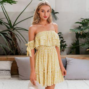 Venta al por mayor ropa de moda femenina vestido floral verano nihaojewelry dulce escote en V profundo fuera del hombro vestido NHDE215863's discount tags