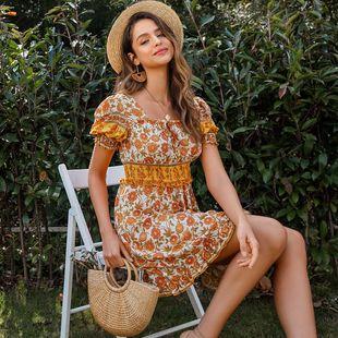 Vestido de mujer de moda al por mayor dulce impreso pequeño ramo de flores vestido de cintura nihaojewelry NHDE215864's discount tags