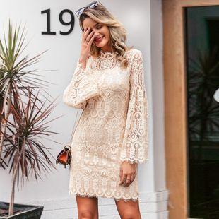 Vestido al por mayor de las mujeres de la moda albaricoque ligero dulce manga larga vestido hueco nihaojewelry NHDE215865's discount tags