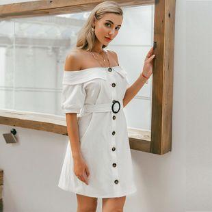 Vestido de mujer de moda al por mayor vestido de color sólido de botón blanco rosado dulce de verano nihaojewelry NHDE215869's discount tags