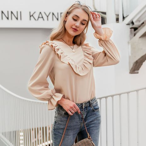 wholesale fashion women's clothes summer nihaojewelry  chic soft long sleeve bare color blouse  NHDE215931's discount tags