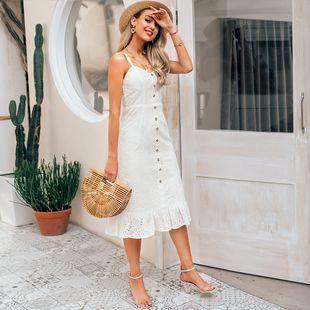 verano simple damas blancas vestido largo blanco vestido de tirantes sueltos nihaojewelry al por mayor NHDE215948's discount tags
