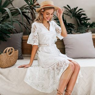 hot-sale summer fashion new v-neck white cutout long sweet dress for women  nihaojewelry wholesale NHDE215956's discount tags