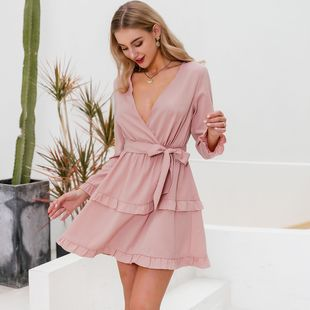 summer sexy fashion v-neck pink sweet dress for women nihaojewelty wholesale NHDE215957's discount tags