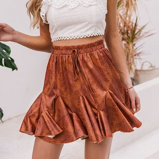 summer new sexy sweet girl dress  pleated dark  orange skirt nihaojewelry wholesale  NHDE215959's discount tags