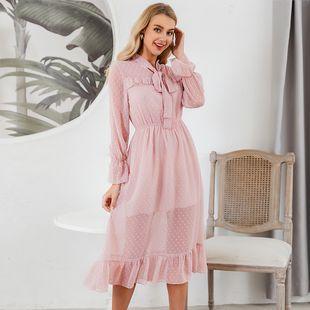 venta caliente del verano nuevo vestido largo simple rosa claro nihaojewelry al por mayor NHDE215960's discount tags