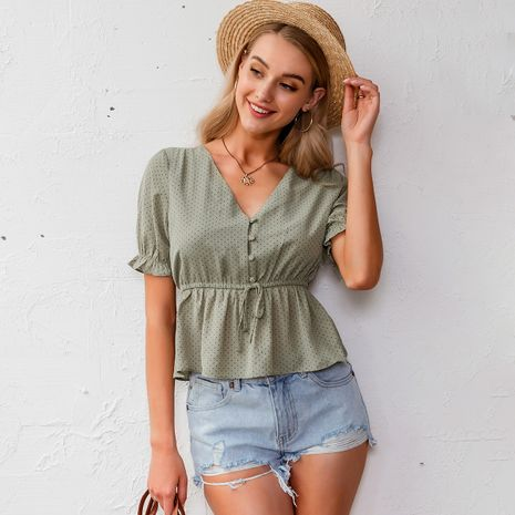 summer fashion new simple green  sweet lady  T-shirt nihaojewelry wholesale NHDE215965's discount tags