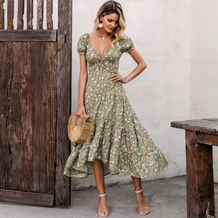summer fashion long dress green thin fabric flowers loose sleeveless dress for women nihaojewelry wholesale NHDE215967's discount tags