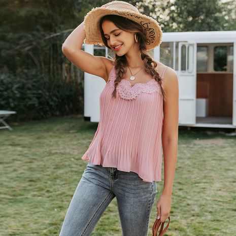 summer fashion thin new pink sweet  camisole for women nihaojewelry wholesale NHDE215969's discount tags
