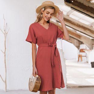 verano simple retro rojo con cuello en v vestido sexy vestido delgado para mujer nihaojewelry al por mayor NHDE215970's discount tags
