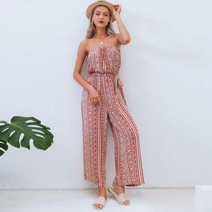 Venta al por mayor ropa de mujer de moda nihaojewelry summer chic stripe jumpamas fuera del hombro conjunto de pantalones sueltos NHDE215973's discount tags