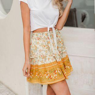 Venta al por mayor ropa de mujer de moda nihaojewelry verano amarillo estampado floral falda gasa falda fresca NHDE215974's discount tags