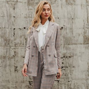 wholesale fashion women's clothes nihaojewelry summer chic lattice thin coat business jacket NHDE215978's discount tags