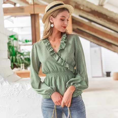 wholesale fashion women's OL blouse clothes nihaojewelry summer chic green  long sleeve floral top NHDE215979's discount tags