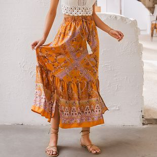 Venta al por mayor ropa de mujer de moda nihaojewelry chic imprimir vestido naranja vestido de gasa NHDE215982's discount tags