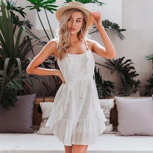 Vestido de mujer de moda al por mayor blanco verde fresco vestido de verano suave vestido de tirantes sexy NHDE215983's discount tags