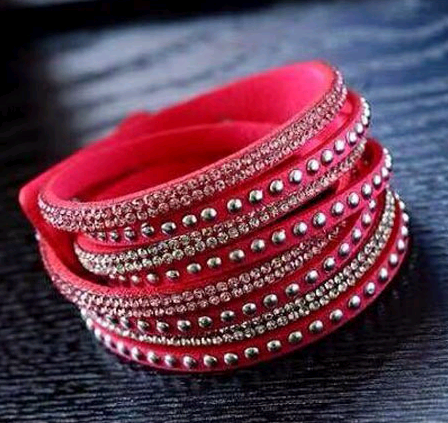 fashion simple diamond inlaid leather celebrity style female multi-layer bracelet nihaojewelry wholesale NHSC216236's discount tags