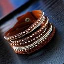 fashion simple diamond inlaid leather celebrity style female multilayer bracelet nihaojewelry wholesale NHSC216236