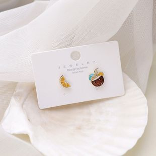Korean fashion small earrings asymmetric 925 silver needle cute lemon drink suitable for summer small sweet girl earrings nihaojewelry wholesale NHMS215988's discount tags