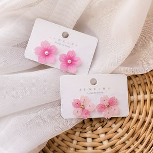 Korean fashion cute  pink flower earrings  sweet  translucent acrylic flower earrings nihaojewelry wholesale NHMS215997's discount tags