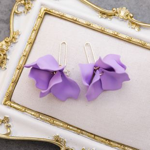 925 silver needle sweet exaggerated beauty flash diamond bow purple multi-layer large petal earrings nihaojewelry wholesale NHMS215999's discount tags