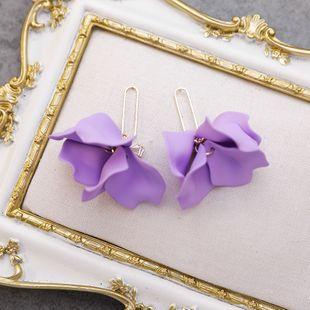 925 silver needle sweet exaggerated beauty flash diamond bow purple multi-layer large petal earrings nihaojewelry wholesale NHMS215999's discount tags