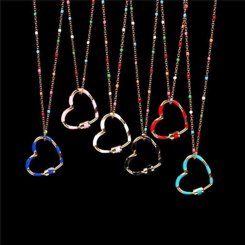 nouveau collier femme simple coeur mignon doux amour vid goutte d39huile pendentif collier en acier inoxydable en gros NHPY216008