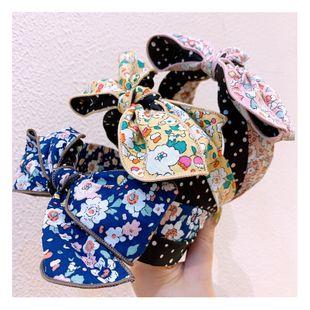 Korea fashion  floral patchwork retro wavelet dot bow hand-locked headband wild accessories nihaojewelry wholesale NHHD216032's discount tags