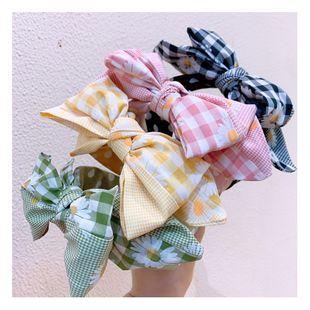 Korean  fashion simple new small daisy size lattice stitching big bow wild headband nihaojewely wholesale NHHD216033's discount tags