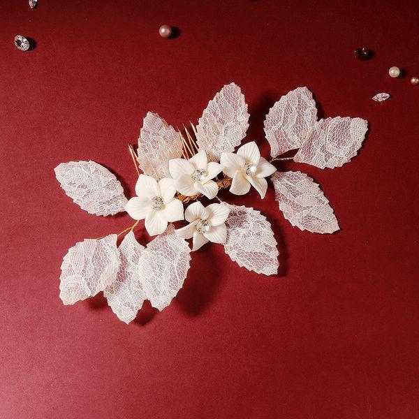 Korea wedding hair accessories Mori system Xianqi soft ceramic flower plate hair plug comb lace fabric hair comb bride wedding head jewelry NHHS216039