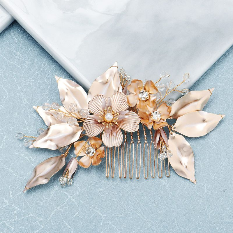 fashion new  bride highend hair accessories layered creative hair comb golden flowers handcombed  veil accessories  wholesale NHHS216042