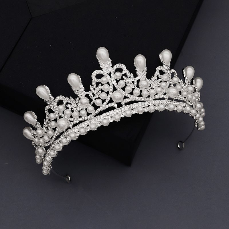 Korean fashion Bridal Wedding Jewelry High-end Diamond Pearl Crown Studio Photo Accessories  Headdress nihaojewely wholesale NHHS216046