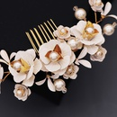fashion new simple  layered flower floral comb pearl handmade rhinestone hair comb ancient style Hanfu accessories bridal jewelry NHHS216050
